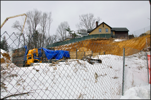 Construction is currently underway at the Chase Bank site off of Morristown Road in Bernardsville, NJ. Credit: S. Reynolds