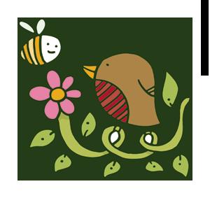 Bird, bee, vine