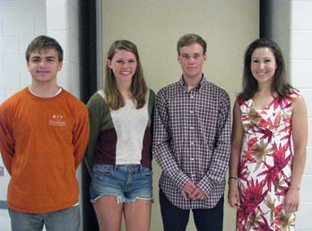 Bernards High School AP Environmental Science students (from left) Matt Whitlock, Kate Hildebrandt, and Till Rosscamp with AP Environmental Sciences teacher Karen DeTrolio.